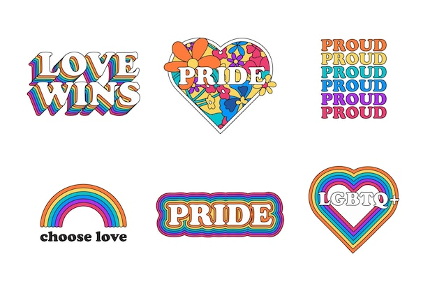 Pride day creative labels set