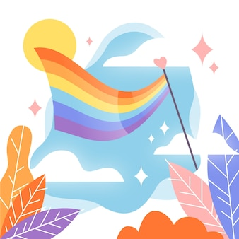 Pride day flag background with sky