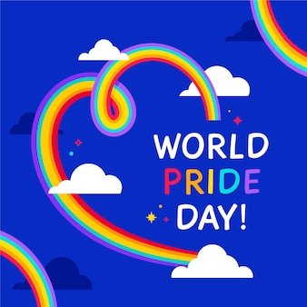 Pride day flag heart background