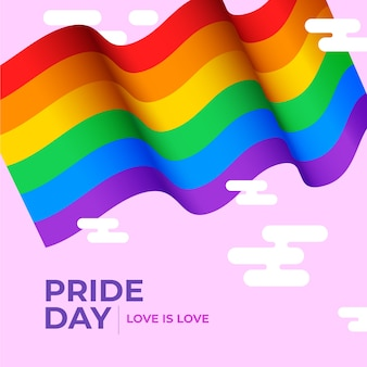 Pride day flag on pink background
