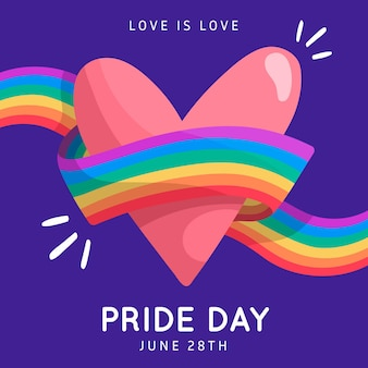 Pride day flag ribbon around heart background