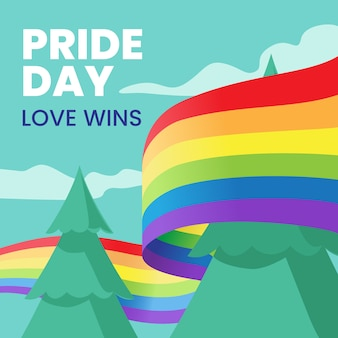 Pride day flag ribbon around trees background
