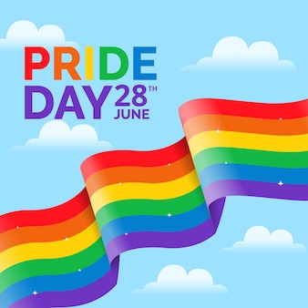 Pride day flag ribbon background with clouds