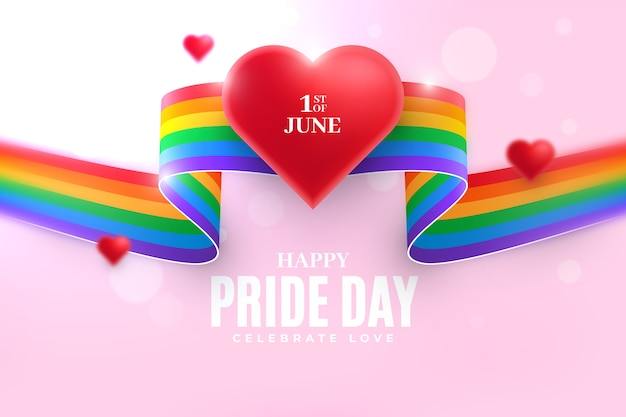 Pride day flag ribbon background with heart