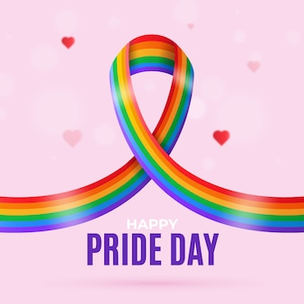 Pride day flag ribbon background with hearts
