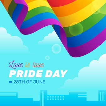 Pride day flag ribbon over city background
