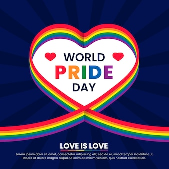 Pride day flag ribbon with heart background