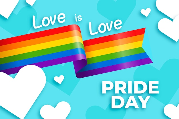 Pride day flag ribbon with hearts background