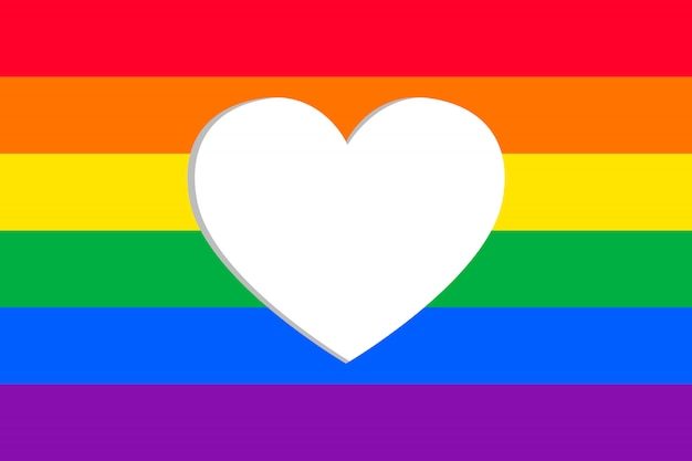 Pride day flag with heart frame