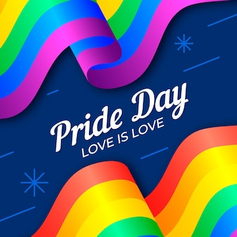 Pride day flag with love is love message