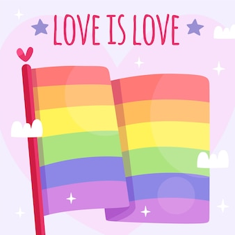 Pride day flag with love