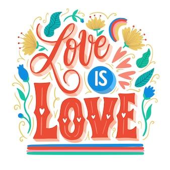 Pride day floral letteringwallpaper