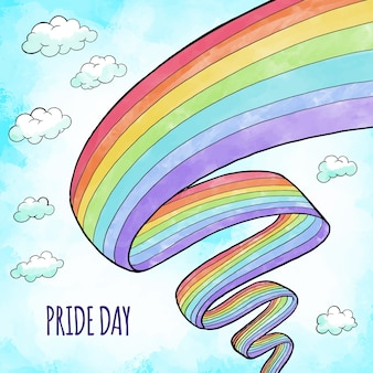 Pride day hand drawn design flag