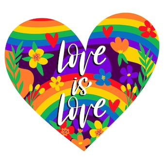 Pride day heart shaped background with lettering