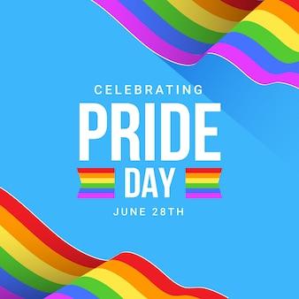 虹色の旗のプライド日イラスト