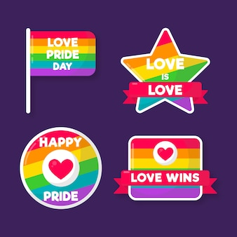 Pride day labels concept