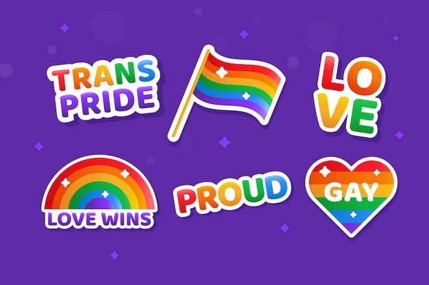 Pride day labels illustration collection