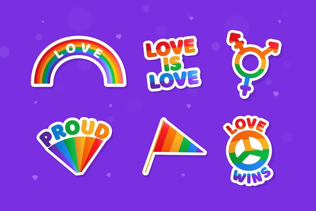 Pride day labels illustration set