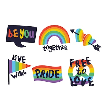 Pride day labels with flag collection