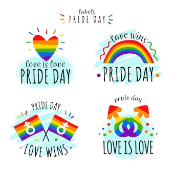 Pride day labels with flag pack