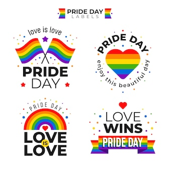 Pride day labels with flag set