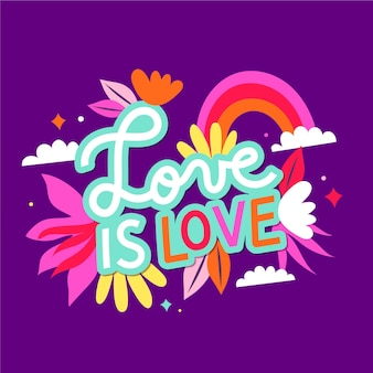 Pride day lettering background with flowers
