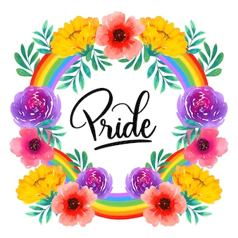 Pride day lettering with colourful flowers