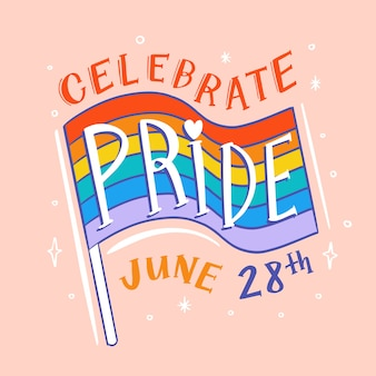 Pride day lettering with flag background