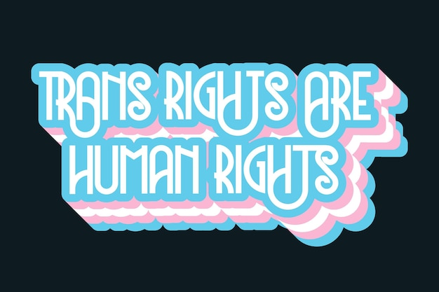Pride day lettering with human rights
