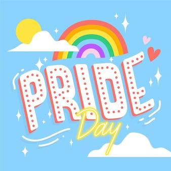 虹の背景を持つプライド日レタリング