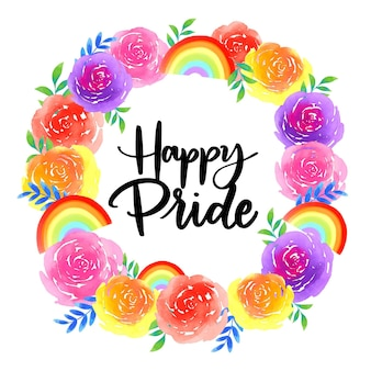 Pride day lettering with wreath of flowers