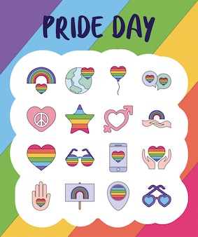 Pride day and lgtbi fill style icon set