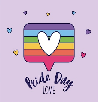 Pride day love and lgtbi bubble with heart