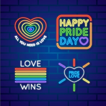 Pride day neon sign collection concept