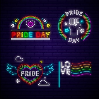 Pride day neon signs concept
