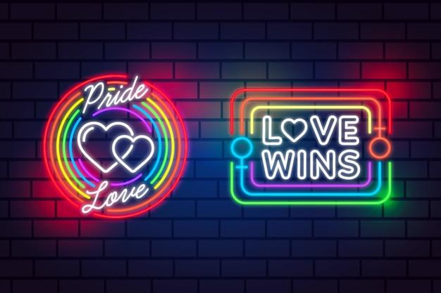 Pride day neon signs concept