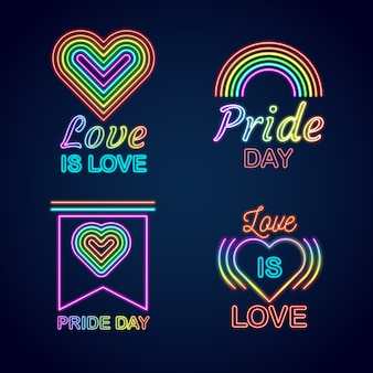 Pride day neon signs design