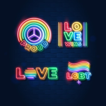 Pride day neon signs illustrations set