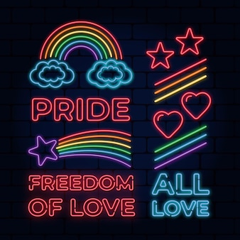 Pride day neon signs pack