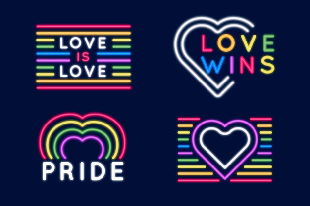 Pride day neon signs set