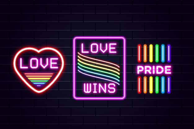 Pride day neon signs style