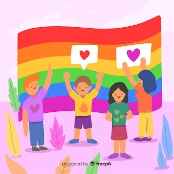 Pride day rainbow flag background
