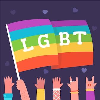 Pride day rainbow flag illustrated