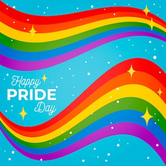 Pride day shiny flag ribbon on blue background