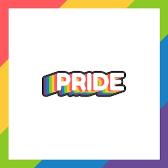 Pride day sticker or label in flat design with rainbow colors