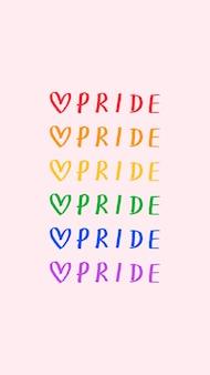 Pride doodle tipografia su sfondo rosa