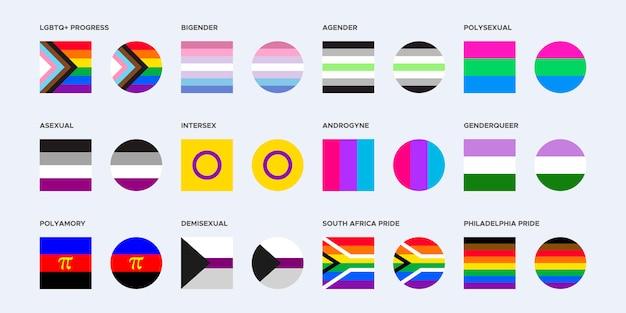 Collezione pride flag in forme quadrate e arrotondate