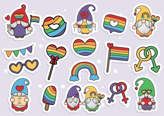 Элементы pride gnomes, стикер lgbt gnome gnomes, планировщик и альбом для вырезок.