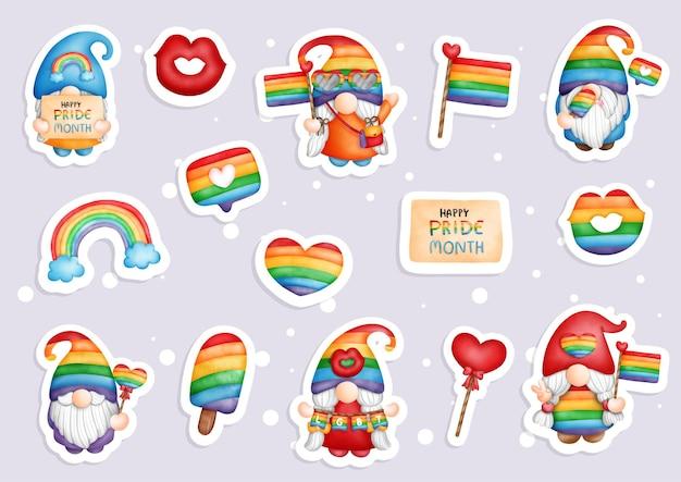 Pride gnomes elements, lgbt gnome gnomes sticker, planner and scrapbook.