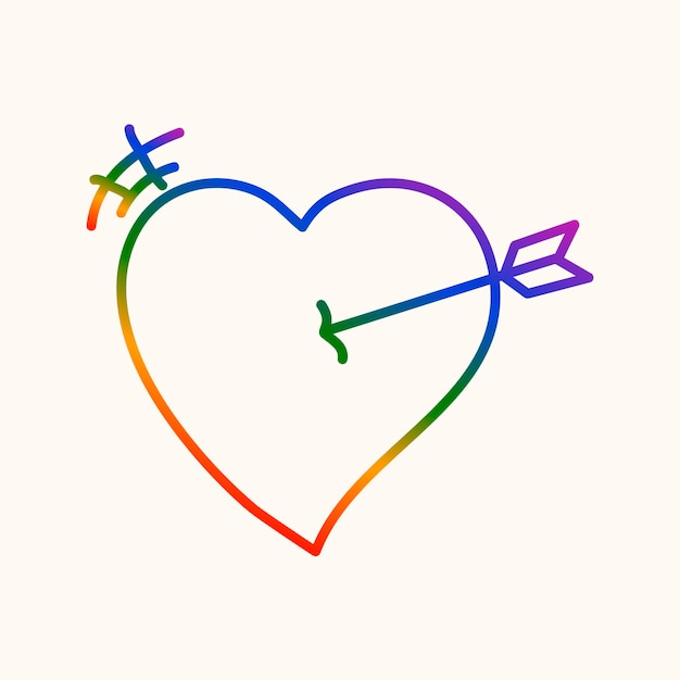 Cuore dell'orgoglio, vettore dell'icona del disegno di doodle arcobaleno